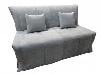 WHITE LABEL - canapé bz convertible flo gris perle 140*200cm mat - Schlafsofa