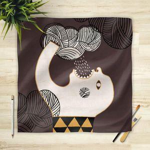 la Magie dans l'Image - foulard ogre pluie fond marron - Vierecktuch