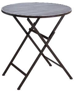 Aubry-Gaspard - table de terrasse pliante marron en métal vieilli - Gartenklapptisch