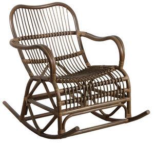 AUBRY GASPARD - rocking-chair en rotin gris - Schaukelstuhl