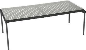 Amadeus - table basse en aluminium et corde - Rechteckiger Couchtisch