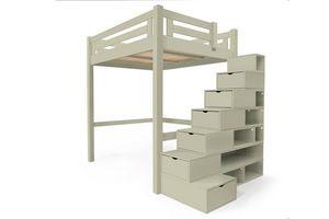 ABC MEUBLES - abc meubles - lit mezzanine alpage bois + escalier cube hauteur réglable moka 140x200 - Andere Verschiedene Schlafzimmermöbel