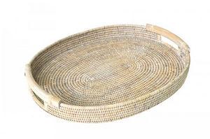 ROTIN ET OSIER - ovale sirius avec anses bois - Tablett