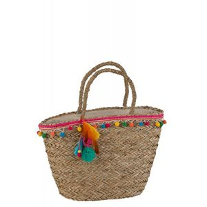 DECO PRIVE - sac de plage pompon et plumes - Strandtasche