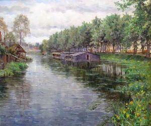 ANDERSON GALLERIES - country stream - Ölgemelde Auf Leinwand Und Holztafel