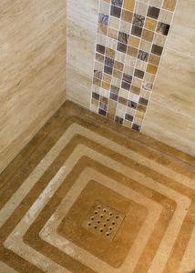 Lusitane - travertin - Eingebautes Duschbecken