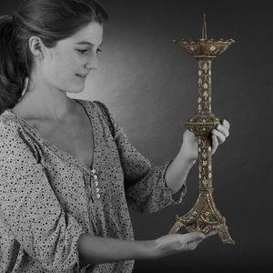 Expertissim - paire de pique-cierges en bronze - Kerzenleuchter Kirche