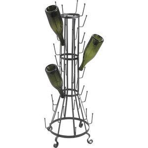 Aubry-Gaspard - égouttoir 40 bouteilles en métal gris 42x42x105cm - Flaschenabtropfgestell