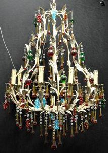 Demeure et Jardin - grand lustre pampilles multicolores - Kronleuchter