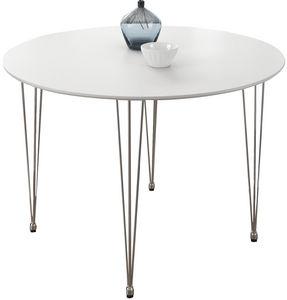 COMFORIUM - table design ronde 80 cm coloris blanc mat - Runder Esstisch