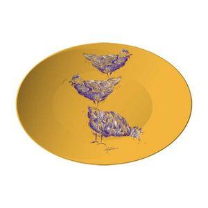 la Magie dans l'Image - assiette poules orange - Präsentierteller