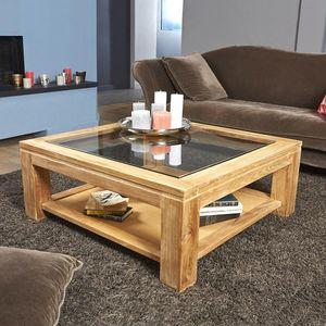 BOIS DESSUS BOIS DESSOUS - table basse vitrée en bois de teck 100 boston - Couchtisch Quadratisch