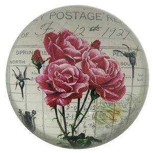 CHEMIN DE CAMPAGNE - presse papier sulfure rond bombé motif rose en ver - Briefbeschwerer