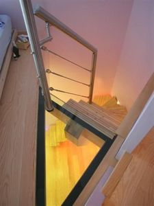 Concept 3000 - escalier avec palier en verre - Viertelgewendelte Treppe