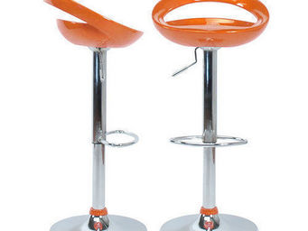 Miliboo - lot de 2 tabourets comet orange - Verstellbarer Barhocker