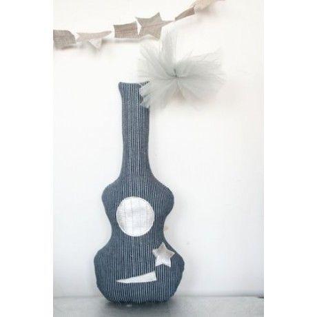 CREME ANGLAISE - Rassel-CREME ANGLAISE-Crème anglaise - Mini Guitare hochet Bleue - Crème