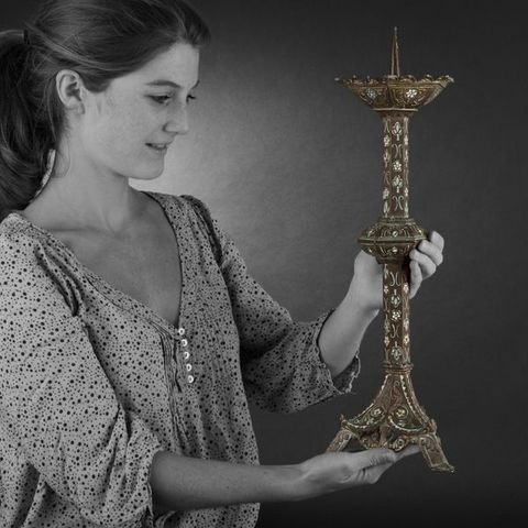 Expertissim - Kerzenleuchter Kirche-Expertissim-Paire de pique-cierges en bronze