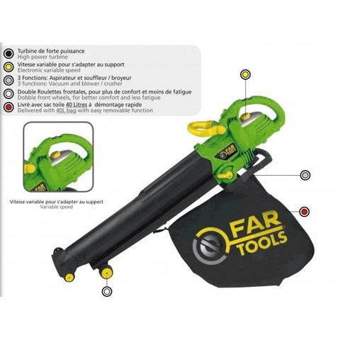FARTOOLS - Laubsauger Häcksler Gebläse-FARTOOLS-Souffleur aspirateur broyeur 2600 Watts Fartools