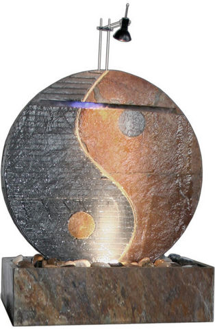Cactose - Zimmerbrunnen-Cactose-Fontaine ying yang en pierre de schiste 60x26x75cm