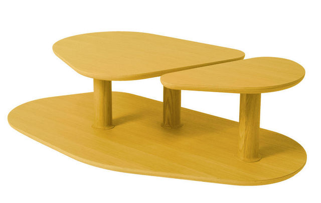 MARCEL BY - Originales Couchtisch-MARCEL BY-Table basse rounded en chêne jaune citron 119x61x3