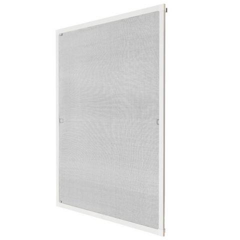 WHITE LABEL - Fliegengitter für Fenster-WHITE LABEL-Moustiquaire pour fenêtre cadre fixe en aluminium 120x140 cm blanc