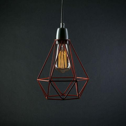 Filament Style - Deckenlampe Hängelampe-Filament Style-DIAMOND 1 - Suspension Orange câble Gris Ø18cm | L