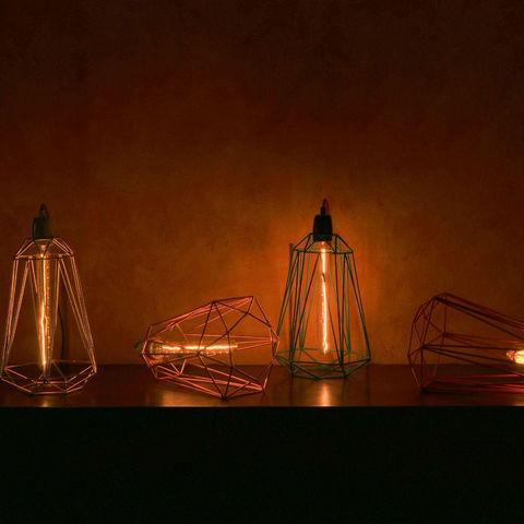 Filament Style - Deckenlampe Hängelampe-Filament Style-DIAMOND 5 - Suspension Or câble Noir Ø21cm | Lampe
