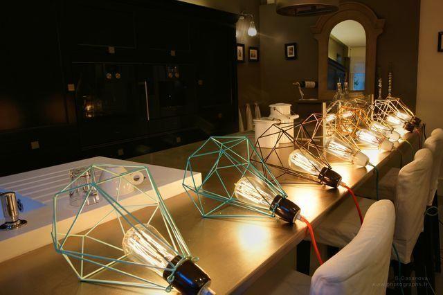 Filament Style - Deckenlampe Hängelampe-Filament Style-DIAMOND 1 - Suspension Bleu câble Orange Ø18cm | L