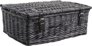 Aubry-Gaspard - valise de rangement en osier teinté gris 53x35x19c - Caja