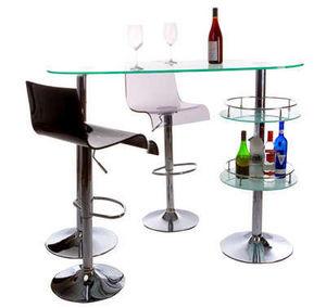 KOKOON DESIGN - bar design en verre et acier chromé 140x50,5x109,5 - Taburete De Bar