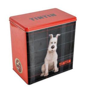 LES AVENTURES DE TINTIN - boite à croquettes les aventures de tintin en méta - Caja Para Alimento De Mascotas
