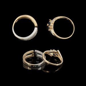 Expertissim - deux bagues or, diamants et saphirs - Anillo
