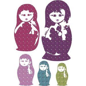 ART STICKER - sticker mural matriochka étoiles - Pegatina