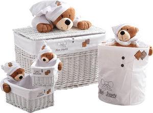 Aubry-Gaspard - coffre à jouets et 3 corbeilles mes jouets ourson - Baúl Para Juguetes