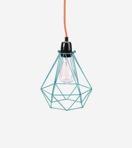 Filament Style - diamond 1 - suspension bleu câble orange ø18cm | l - Lámpara Colgante