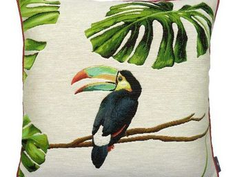Art De Lys - oucan bec bleu, jungle fond blanc - Cojín Cuadrado