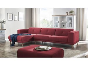 BOBOCHIC - canapé d'angle avec pouf luna rouge angle gauche - Sofá De Esquina