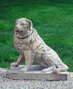 BARBARA ISRAEL GARDEN ANTIQUES - terra-cotta dog - Escultura De Animal