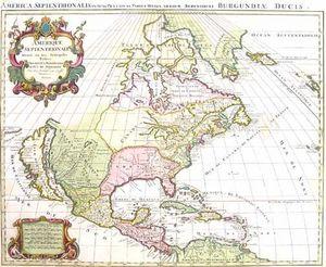 ARADER GALLERIES - carte de l'amerique septentrionale 1696 - Mapa