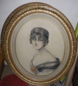 Art & Antiques - paire de portraits de femme du début xxe - Retrato