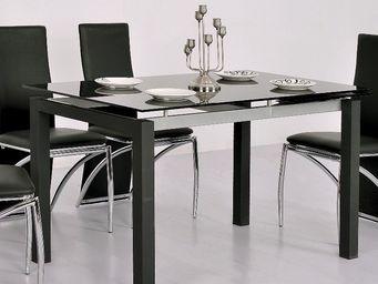 CLEAR SEAT - table en verre noire à rallonge extensible waly - Mesa Extensible