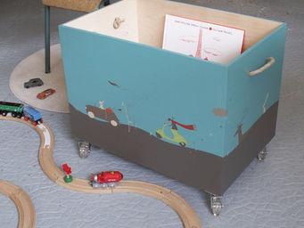 ICI LA TERRE - coffre à jouets en bois à roulettes - napoli - Baúl Para Juguetes