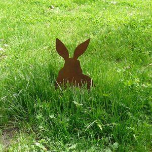 OKE DECORATION - lapin décoratif en métal sur socle - Ornamento De Jardín