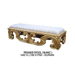 DECO PRIVE - banquette baroque bois dore et imitation cuir blan - Banqueta
