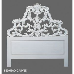DECO PRIVE - tete de lit baroque en bois blanc sculptee 160 cm - Cabecera