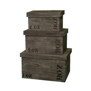 WHITE LABEL - 3 boîtes légères et résistantes en bois de paulown - Caja