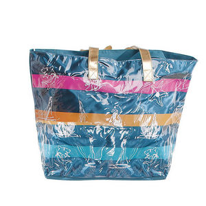 WHITE LABEL - grand sac cabas à rayures pochette unie fond rayé - Bolso