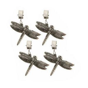 WHITE LABEL - lot de 4 poids serre-nappe décoratifs libellule - Peso Sujetamanteles