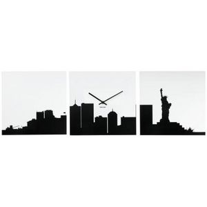 Present Time - horloge new york skyline - Reloj De Pared