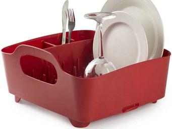 Umbra - egouttoir à vaisselle rouge avec poignées de trans - Escurridor